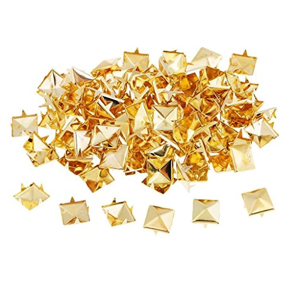 援助下に向けます細心のピラミッド スパイク スタッド リベット スポット 四角 8mm レザークラフト 2色 100個入り - ゴールド, 8mm