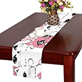 GGSXD テーブルランナー 小柄 ピンク猫 クロス 食卓カバー 麻綿製 欧米 おしゃれ 16 Inch X 72 Inch (40cm X 182cm) キッチン ダイニング ホーム デコレーション モダン リビング 洗える