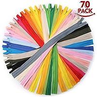 KING DO WAY 40cm 70pcs20色 ファスナー ジッパー カラフル 完璧縫製 隠された 手芸 修理 ドレス、ポーチ、枕などに適用