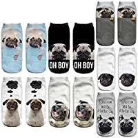Angelteers Unisex's Pug Ankle Socks Novelty 3D Funny Dog Low Cut Boat Socks