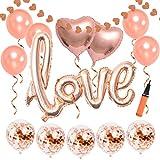 結婚式飾り付け ローズゴールド love風船 紙吹雪入れバルーン シャンパンカラー キラキラ ハート スター アルミバルーン バレンタイン ウェディング パーティー飾り 部屋装飾