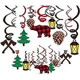 Topoox 30Ct Buffalo Plaid Hanging Swirl Decorations Lumberjack Baby Shower Decorations Woodland 1St Birthday Party Supplies