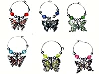Butterfly Beaded Wine Glass (Tag/Marker) Charms- (Set of 6)
