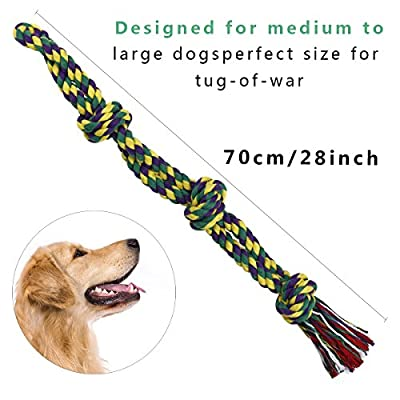 RIO Direct Dog Rope Toy for Large Dogs Aggressive Chewers, Durable 3-Knot Rope Tug, Nearly Indestructible Dog Rope Chew Toy for Extra Large Breed Big Dogs