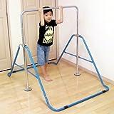室内・屋外使用可 折りたたみ 鉄棒 青(ブルー) 子供用 40kgまで 高さ調整OK&組立カンタン