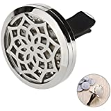 ROSENICE Aromatherapy Home Car Essential Oil Diffuser Locket Clip with 10 Washable Felt Refill Pads 316L Stainless Steel Sunflower Shaped
