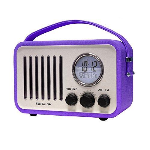 FENGJIDA ボータブルラジオ レトロなラジオ am fm対応ラジオ 目覚まし 木製 高感度 乾電池対応 (紫)