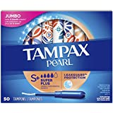 Tampax Pearl Tampons with Plastic Applicator, Super Plus Absorbency, Unscented, 50 Count - Pack of 6 (300 Count Total)
