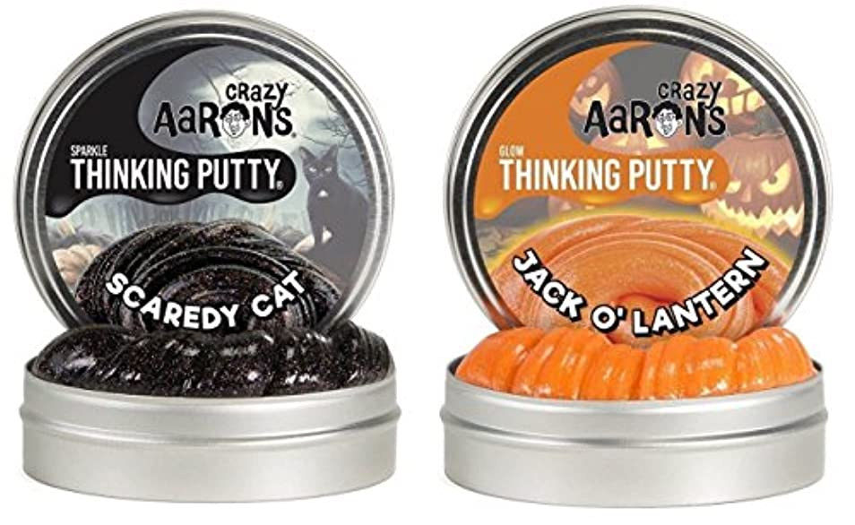 Crazy Aaron's Thinking Putty Scaredy Cat & Jack O' Lantern 8.2オンス 4インチ 缶 2パック