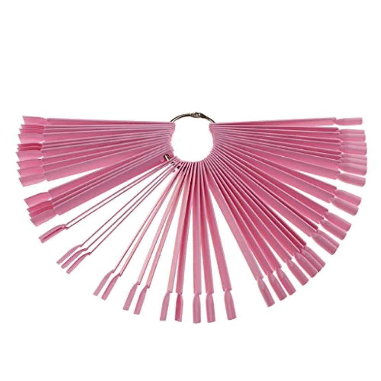 退化する石油はっきりと約50ピース ネイルヒント 磨きネイルアートチップ ポップカラースティック ディスプレイ ファンキット 3色選べ - ピンク
