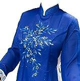 アオザイ ベトナム 民族 衣装 襟付き 長袖 レディース (M, ブルー)
