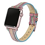 Secbolt Slim Woven Bands Compatible with Apple Watch Band 38mm 40mm, Durable Canvas Fabric Strap for iWatch Series 5/4/3/2/1 Women, Rainbow with Rose Gold Connector