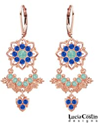 24K Pink Gold over .925 Sterling Silver Floral Earrings Designed by Lucia Costin with Mint Blue and Blue Swarovski...