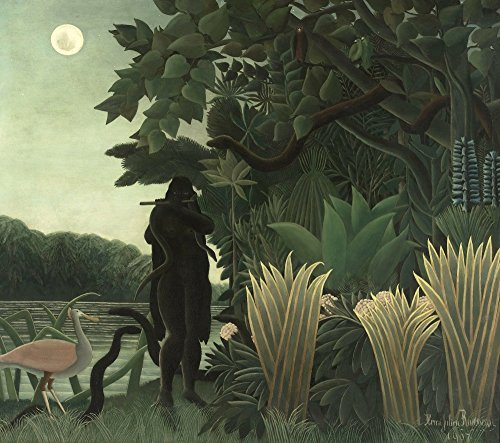 絵画風 壁紙ポスター(はがせるシール式) アンリ・ルソー 蛇使いの女 1907年 オルセー美術館 キャラクロ K-RSU-004S1 (661mm×585mm) 建築用壁紙+耐候性塗料