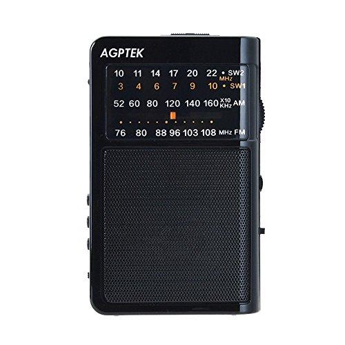 AGPtEK R09 FM/AM 2バンドラジオ ポータブル LED照明ライト付き 64GBマイクロSDカードに対応(ブラック)