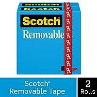 スコッチリムーバブルテープ8112pk、3/ 4インチx 1296インチ、1インチコア、2/ Pack