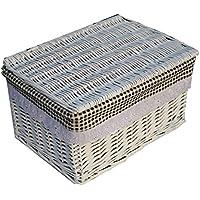 HUOFU 収納ボックス 蓋付き 収納バスケット かご 雑貨 籐風 天然素材 和風収納 編み物 フタ付きかご 雑貨 衣類 服 本 雑誌 小物収納 収納箱 (白黒チェック 蓋付き, L長さ40CM*幅30CM*高22CM)