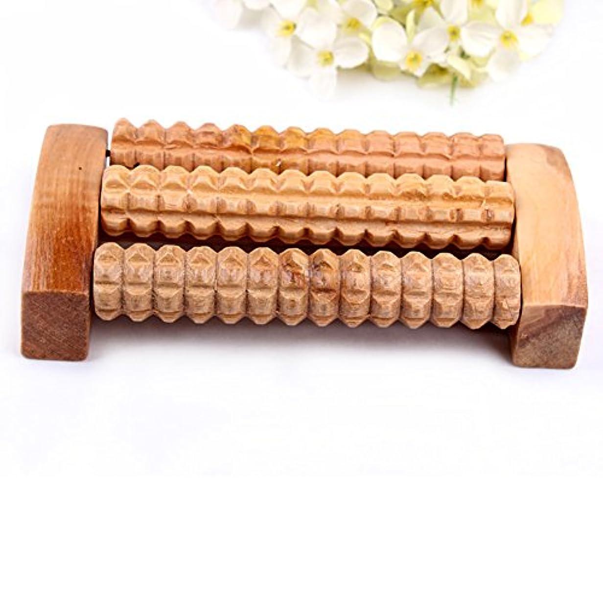 発明思春期劇的リフレクソロジー、自然木製 足踏み ストレス解消 リラックス 足裏健康器具、足の痛み お風呂 血行促進 (3列)