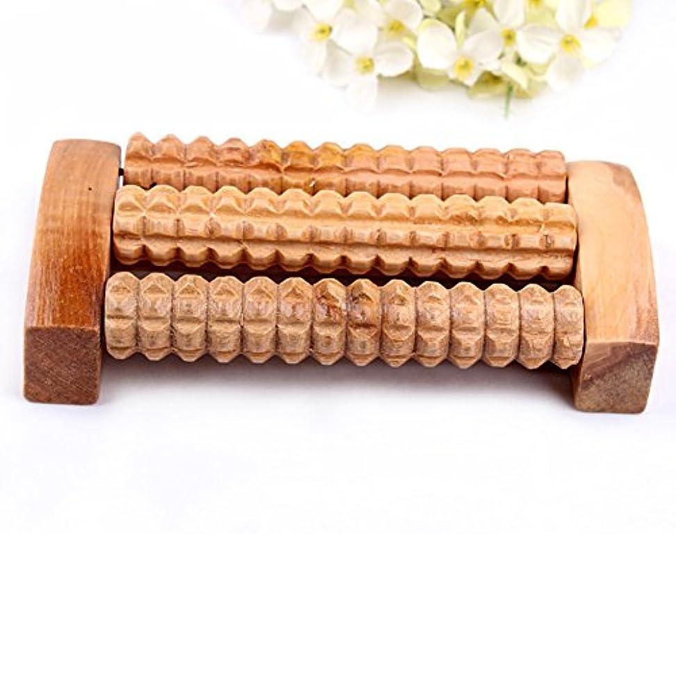 弾薬用心する信じるリフレクソロジー、自然木製 足踏み ストレス解消 リラックス 足裏健康器具、足の痛み お風呂 血行促進 (3列)