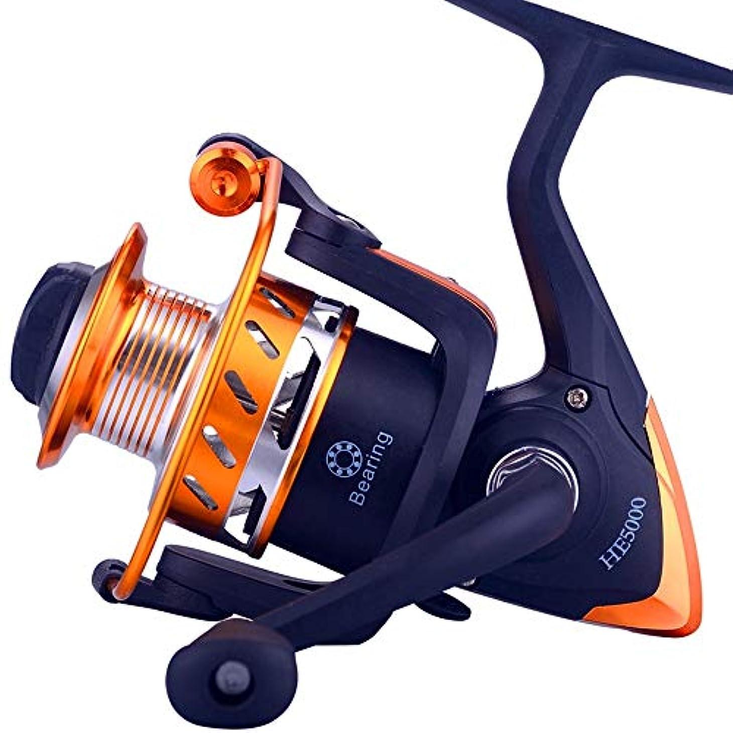質素なとティームだらしないCLAUDIAR 釣りギアHEスピニングホイールメタル釣りリール釣り糸リール釣り糸魚ホイール鯛ホイールライト超スムーズ (Size : HE2000 black)