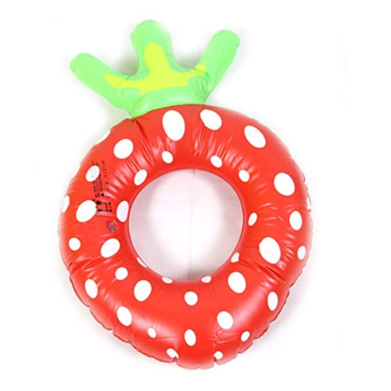 Geraffely 子供用 浮き輪 ストロベリー60cm かわいい 水泳用 フロート 海 海水浴 ビーチ パイン サイズ プール フルーツ ストロベリー浮輪 うきわ (pineapple)(strawberry )