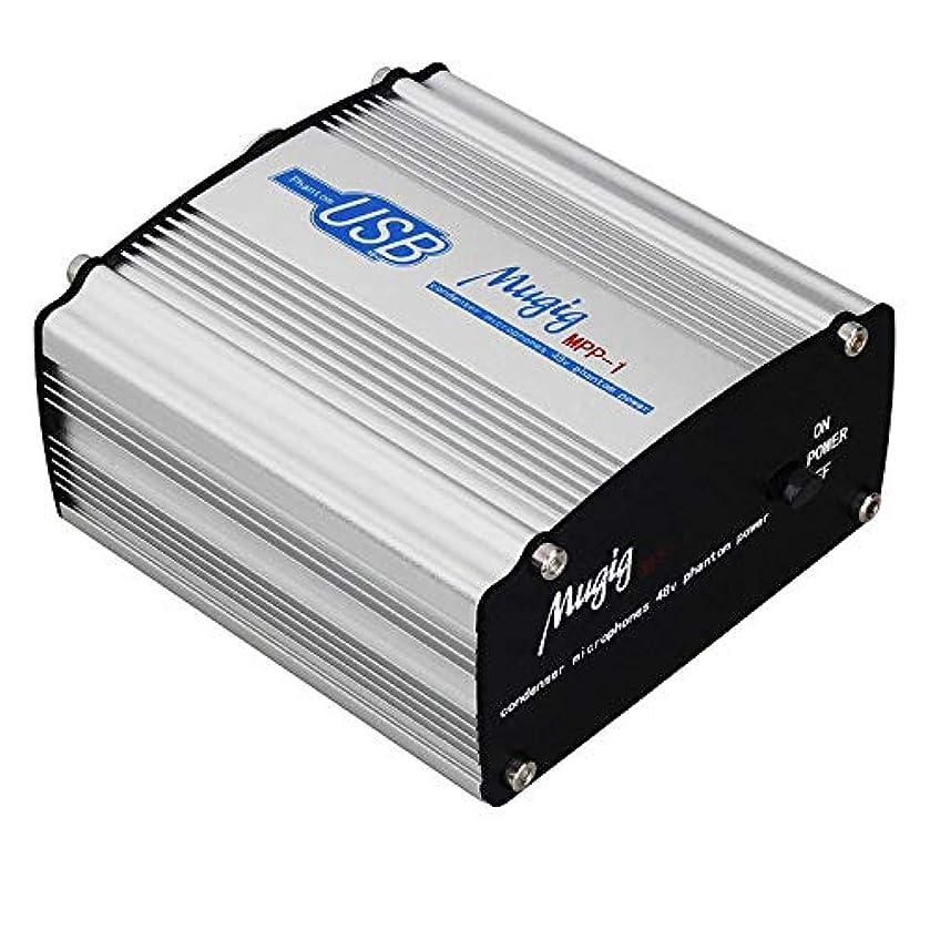 連続的休暇設計Mugig 48Vファンタム電源 アダプター 1チャンネル マイク電源、コンデンサーマイク 音楽レコーディング機器に対応