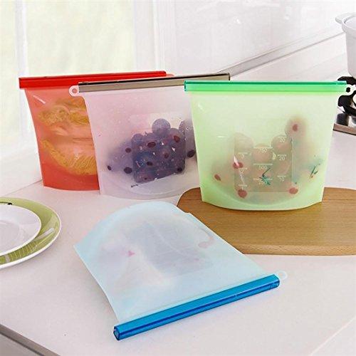 4個 1000ml シリコーンキッチン食品新鮮な袋 シール冷蔵庫収納袋 多目的漏れ防止バッグ 再使用可能な食品保存バッグ クッキングセーバーバッグ