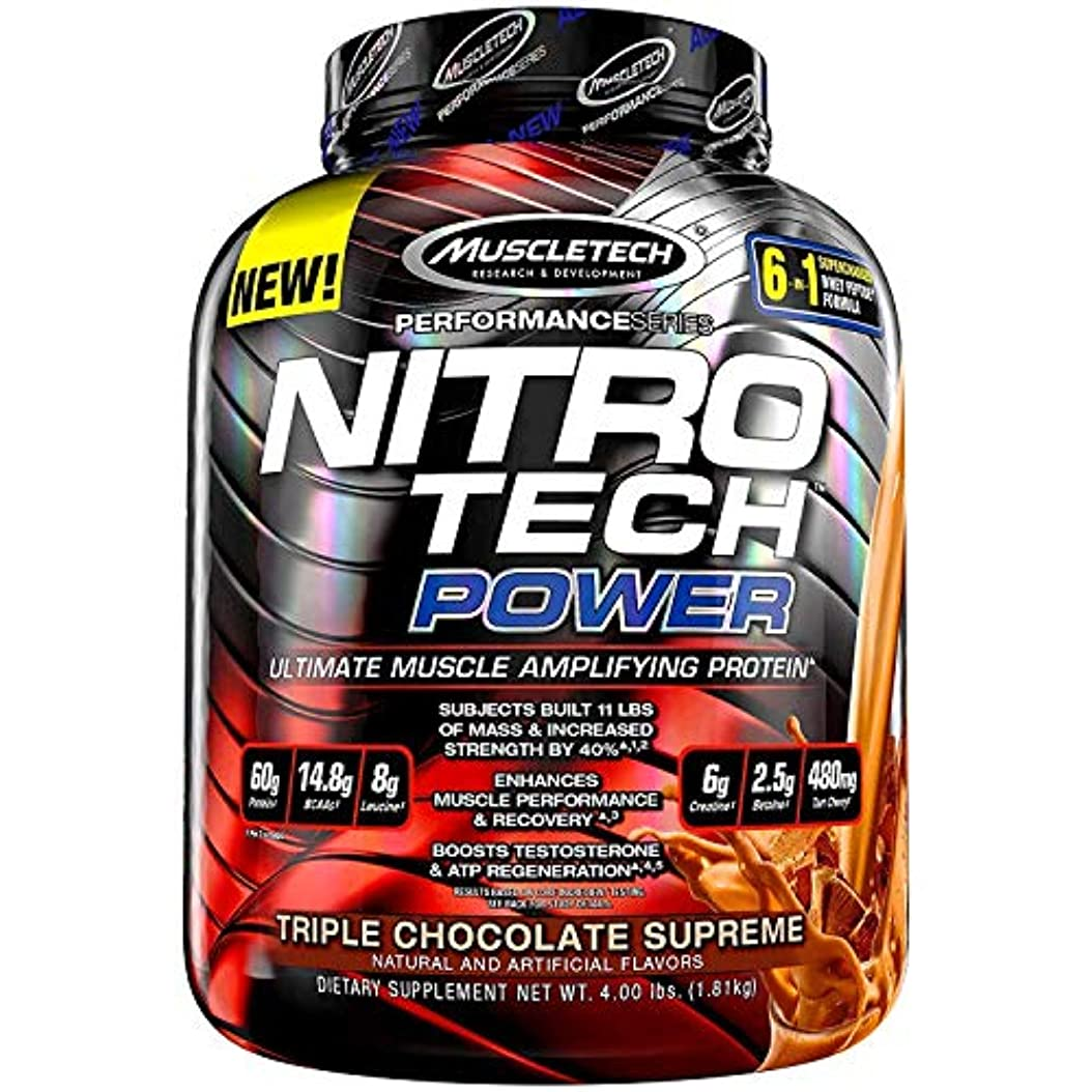 事業代数クラッチMuscletech, Nitro Tech Power、究極の筋肉増強プロテイン、トリプルチョコレートシュプリーム味、4.00 lbs (1.81 kg) [並行輸入品]
