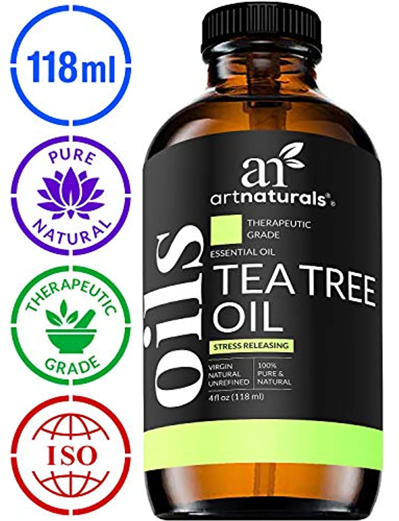 競合他社選手値する動脈ArtNaturals Tea Tree Essential Oil - 4 oz Pure and Natural Premium Melaleuca Therapeutic Grade