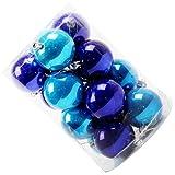 SODIAL(R) 16個 クリスマスツリーオーナメント 多色クリスマスパールボールブライトカラーボール(ロイヤルブルー+レークブルー 4CM)