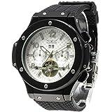 f415c0746a 自動巻き 腕時計 メンズ 防水 ラバーバンド スポーツ ビジネス ウォッチ BCG108 ホワイト