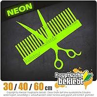 Comb & scissors - 3つのサイズで利用できます 15色 - ネオン+クロム! ステッカービニールオートバイ