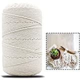Macrame Cord Rope, HOME-MART Macrame Natural Cord 100M 4mm for Knittin,Yarn Crafting,Macrame Cord,Cord DIY Craft,Crafts, Hand