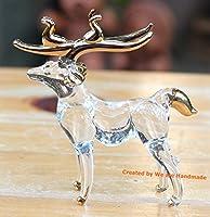 手作りの手吹きガラスの鹿 ガラス細工 ガラスの置物  ガラス ミニチュア 動物の置物 家の装飾 室内装飾 No.1 - White Glass Deer