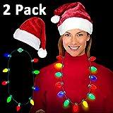 Winmayer LEDライトアップクリスマス電球ネックレス クリスマス プラッシュサンタハット ダブルライナーベルベット レッドクリスマスハット クリスマスホリデー 誕生日パーティーの記念品 子供のクリスマスプレゼント
