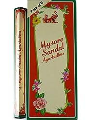 Mysore Sandal Incense – 6 20スティックチューブ、120 Sticks合計 – インドから