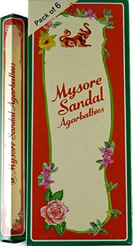 下着慣らすストラップMysore Sandal Incense – 6 20スティックチューブ、120 Sticks合計 – インドから