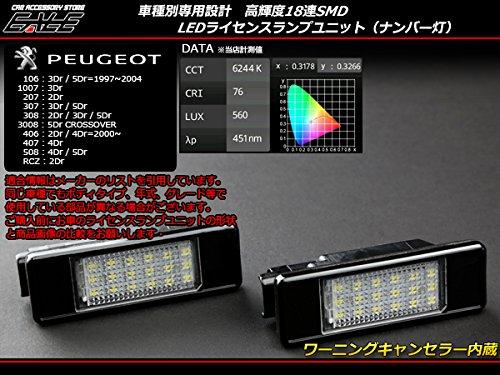 プジョー 106 1007 207 307 308 3008 406 407 508 RCZ LED ライセンスランプ ナンバー灯 R-173