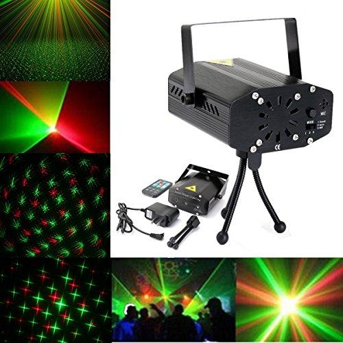 Jeteven ステージライト 音声制御 リモコン付き 赤と緑 夢幻の星状 レーザー投射 舞台照明 ...