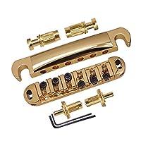 Fenteer 高品質 ギターブリッジ テールピース 小ねじ付き エレクトリックギター用 交換パーツ 全3色 - ゴールド