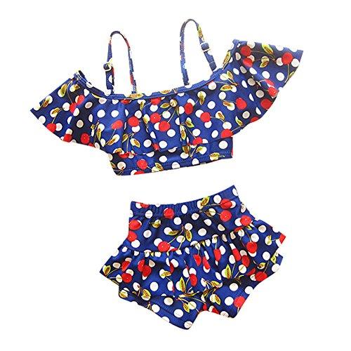 (ココイチヤ)COCO1YA子供水着キッズ女の子セパレート120130140cm子供水着2点セット女の子みずぎ(L,ネイビー)