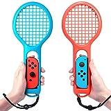 マリオテニス エースに対応テニスラケット Nintendo switch Joy-Con ハンドル 2個セッット マリオテニスなどのテニスゲームに対応 落下防止ストラップ付き 軽量ABS製 テニスゲームの臨場感 2点セット (ブルー・レッド)