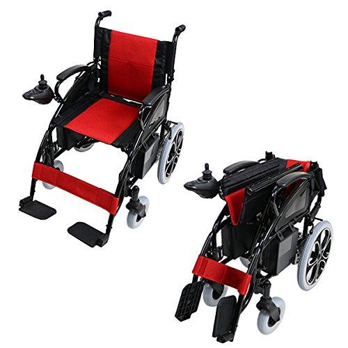電動車椅子 黒 折りたたみ 車椅子 コンパクト ノーパンクタ...