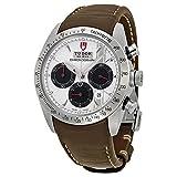 Tudor Fastriderホワイトダイヤルクロノグラフブラウンレザーメンズ腕時計42000-wsbrls