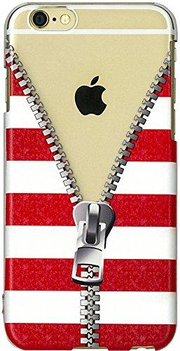 iPhone6 ケース iPhone6s ケース おしゃれ かわいい 赤白 ボーダー チャック ファスナー iphone6s ケース アイフォン6sケース