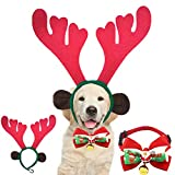 Flymmy Christmas Dog Elk Reindeer Antlers Headband and Dog Christmas Collar Bow Tie Bells Adjustable with Quick Release Buckle for Small Medium Large Dog Cat Kids Christmas Outfit Costume Accessories