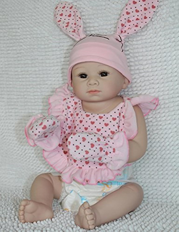 Dollshow 20インチ環境に優しいFullビニールWashable Rebornベビーガール人形with Lovely Bunny衣類50 cm防水BathingトレーニングおもちゃforマタニティMatron