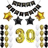 IPALMAY 誕生日 飾り付け ブラック ゴールド キラキラ 30歳  HAPPY BIRTHDAYガーランド バルーン 風船 セット (黑白金)
