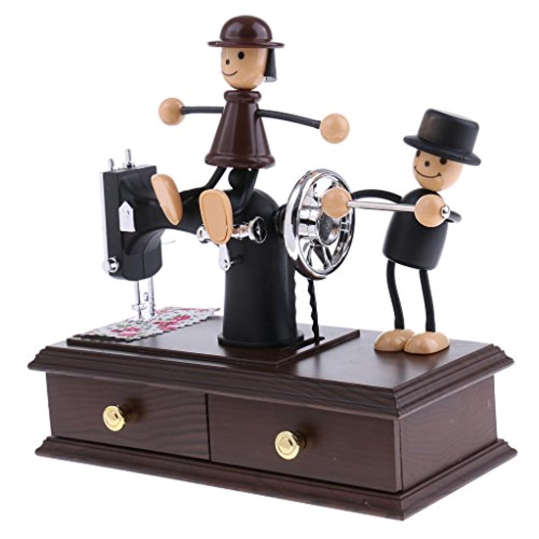 Blesiya プラスチック デスクトップ 寝室 装飾 誕生日 プレゼント 時計仕掛け 音楽ボックス オルゴール ミシン
