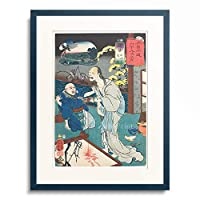 歌川 国芳 Utagawa Kuniyoshi 「Station 21, Oiwake: Oiwa appearing in front of the Takuetsu (from the series The 69 Stations of the Kisokaido). 1852」 額装アート作品